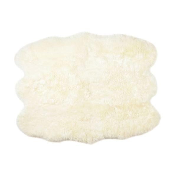 ニュージーランド産 天然ムートンの6匹 ラグマット 【約140×180cm ホワイト】 表面:羊毛皮100% 吸水性 放湿性 『M-511-F』【代引不可】 送料込!