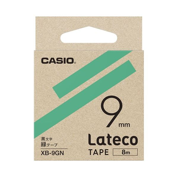 (まとめ)カシオ計算機 ラテコ専用テープXB-9GN 緑に黒文字(×30セット) 送料無料!