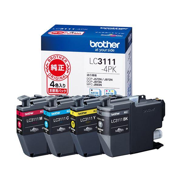 (まとめ)ブラザー インクカートリッジ 4色パックLC3111-4PK 1箱(4個:各色1個)【×3セット】 送料無料!