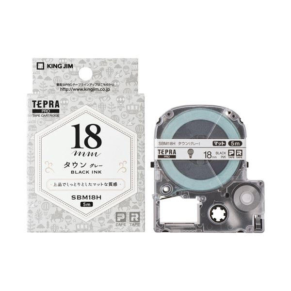 (まとめ) キングジム テプラ PROテープカートリッジ マットラベル 模様 18mm タウン(グレー)/黒文字 SBM18H 1個 【×10セット】 送料無料!