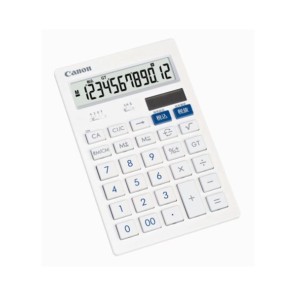 (まとめ) キヤノン Canon 抗菌キレイ電卓 HS-121T SOB 12桁 中型卓上タイプ ホワイト 3442B001 1台 【×10セット】 送料無料!