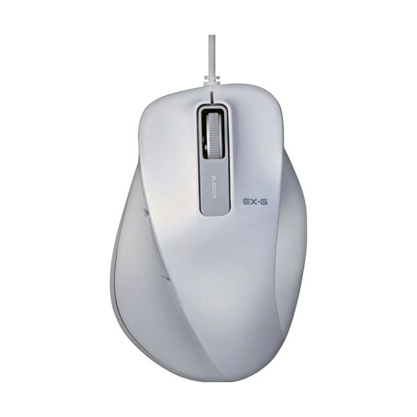 (まとめ) エレコム EX-G有線BlueLEDマウス Lサイズ ホワイト M-XGL10UBWH 1個 【×10セット】 送料無料!