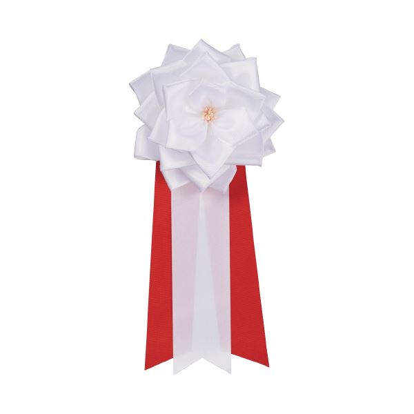 (まとめ)銀鳥産業 徽章リボン 中リボンバラ 白 12個入(×3セット) 送料無料!