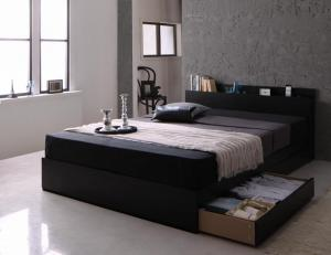 モダンライト・コンセント付き収納ベッド Pesante ペザンテ スタンダードボンネルコイルマットレス付き ダブル