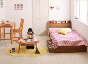 ショート丈 棚・コンセント付き収納ベッド Paola パオラ スタンダードボンネルコイルマットレス付き セミシングル ショート丈