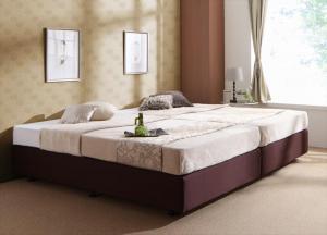 ホテル仕様デザインダブルクッションベッド 国産ボンネルコイルマットレス付き セミシングル