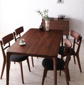 天然木ウォールナット無垢材ダイニング Kate ケイト 5点セット(テーブル+チェア4脚) W150