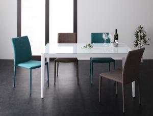 ハイグレードガラスダイニング Placidez プラシデス 5点セット(テーブル+チェア4脚) グロッシーホワイト W150