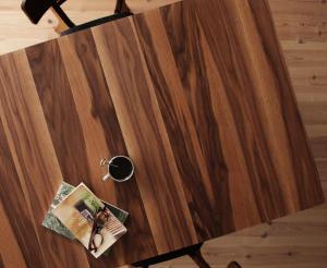 天然木ウォールナットエクステンションダイニング Nouvelle ヌーベル ダイニングテーブル W120-180