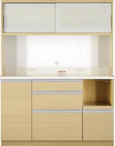 開梱サービスなし 大型レンジ対応 清潔感のある印象が特徴のキッチンボード Ethica エチカ キッチンボード 幅140 高さ178