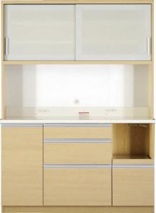 開梱設置付 大型レンジ対応 清潔感のある印象が特徴のキッチンボード Ethica エチカ キッチンボード 幅140 高さ193