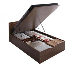 お客様組立 ウォルナットデザイン大容量収納跳ね上げベッド Ostade オスターデ 薄型スタンダードポケットコイルマットレス付き 縦開き セミダブル 深さラージ