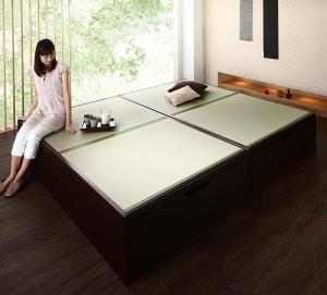 お客様組立 くつろぎの和空間をつくる日本製大容量収納ガス圧式跳ね上げ畳ベッド 涼香 リョウカ 国産畳 セミダブル 深さグランド