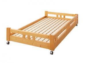 マルチに使える・高さが変えられる棚付き親子2段ベッド Star&Moon スターアンドムーン 子ベッド シングル