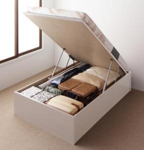 お客様組立 国産跳ね上げ収納ベッド Regless リグレス 薄型プレミアムポケットコイルマットレス付き 縦開き セミシングル 深さラージ