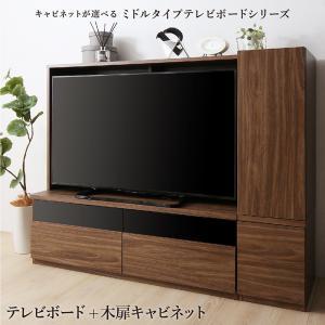 ミドルタイプテレビボードシリーズ city sign シティサイン 2点セット(テレビボード+キャビネット) 木扉