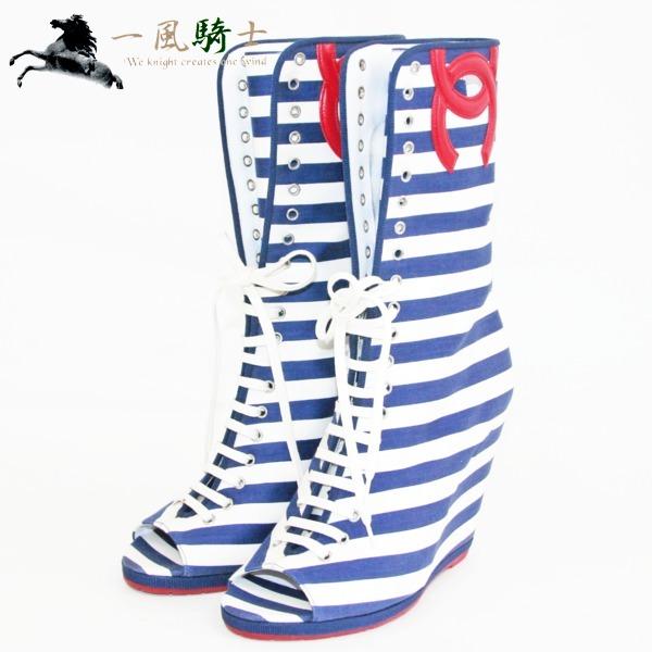 244350【送料無料】【新品同様】【CHANEL】【シャネル】ロングブーツ キャンバス ボーダー柄 #38 1/2(約24.5cm)chanel ココマーク ファッション小物 シューズ 靴 レディース 【中古】も多数出品中
