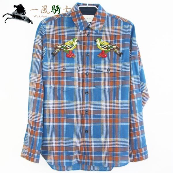 287423【新品同様】【GUCCI】【グッチ】チェック柄シャツ 2017年AW 鳥刺繍 マルチカラー 表記サイズ:38