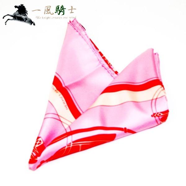 316438【新品】【HERMES】【エルメス】カレ90 馬車柄 シルク100% ピンク スカーフ