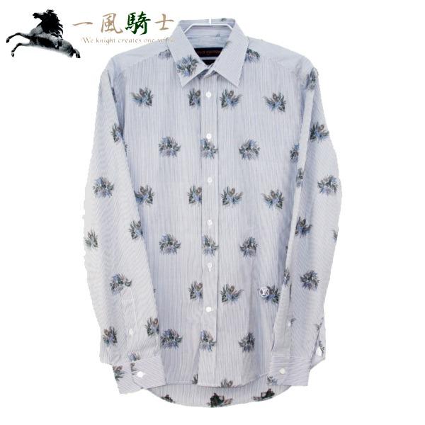 287445【新品同様】【LOUIS VUITTON】【ルイ・ヴィトン】ノーカラーシャツ ストライプ 花柄 コットン100% グレー 表記サイズ:S