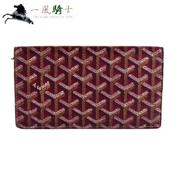 340714【中古】【GOYARD】【ゴヤール】二つ折り長財布 へリンボーン PVC レッド