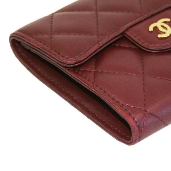 354432 CHANELシャネル 三つ折り財布 マトラッセライン ラムスキン ボルドーEWHD29I