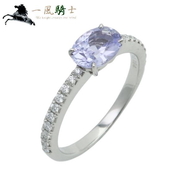 347043【中古】【gimel】【ギメル】非加熱 バイオレットサファイヤ リング PT950×サファイア1.007ct×ハーフサークルダイヤモンド0.164ct #10プラチナ 指輪 アクセサリー ブランドジュエリー