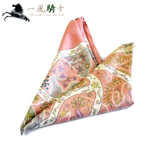 359331【中古】【HERMES】【エルメス】カレ90 シルク100% ピンク×マルチカラー スカーフ