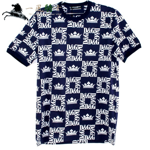 366103【未使用】【DOLCE&GABBANA】【ドルチェアンドガッバーナ】クルーネック Tシャツ メンズ ロゴ コットン100% ネイビー G8HI7T 表記サイズ:50ドルチェアンドガッバーナ 紺 半袖