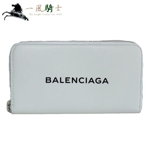 368582【未使用】【BALENCIAGA】【バレンシアガ】ラウンドファスナー長財布 ロゴ レザー ホワイト 505052balenciaga ラウンドジップ