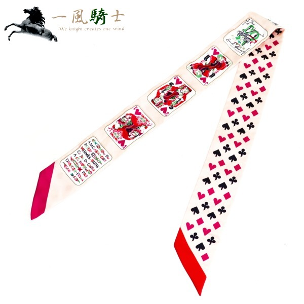 368502【未使用】【HERMES】【エルメス】トゥイリー シルク100% トランプ柄 ピンクhermes ストール スカーフ ファッション装飾小物