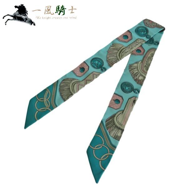370632【未使用】【HERMES】【エルメス】トゥイリー シルク100% エメラルドグリーンhermes スカーフ ファッション服飾小物