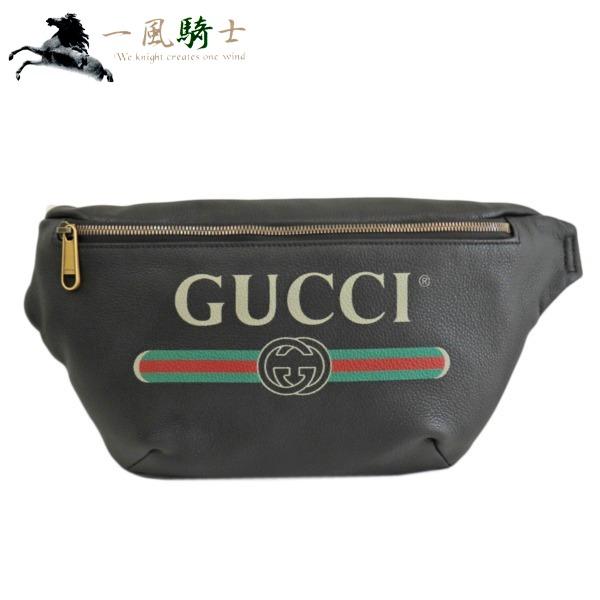 371900【未使用】【GUCCI】【グッチ】ボディバッグ グッチプリント レザー ブラック 530412gucci  ウエストポーチ ショルダーバッグ ベルトバッグ