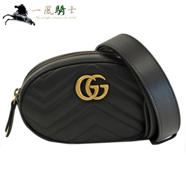 371894【未使用】【GUCCI】【グッチ】ベルトバッグ GGマーモント レザー ブラック 476434