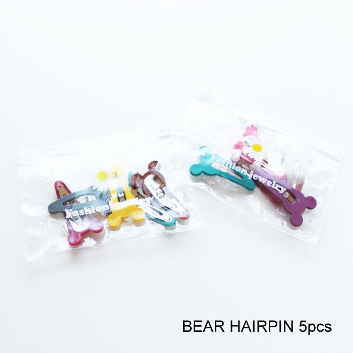 BABY KIDS BEAR HAIRPIN 5pcs ヘアピン パッチンピン 5個セット 韓国子供服 通販 かわいい 可愛い 激安価格と即納で通信販売 赤ちゃん 女の子 ポーチ付き プレゼント用に 21ss ベビー
