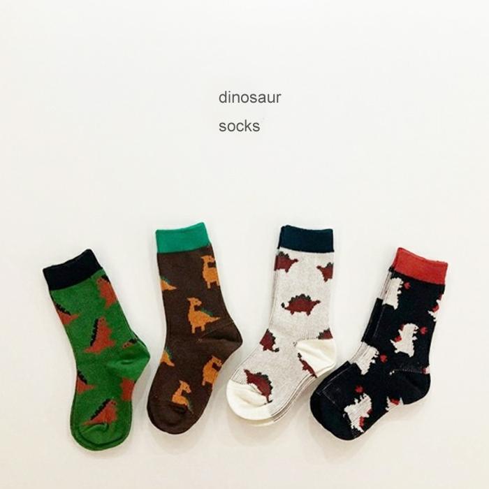 BABY KIDS va dinosaur 4足セット 滑り止め無し 韓国子供服 女の子12cm 13cm 14cm 15cm 16cm 好評 17cm 18cm 可愛い キッズ ダイナソー 子ども用 恐竜 靴下 クリーム おしゃれ 蔵 レッド ソックス くつした オシャレ ピンク かわいい