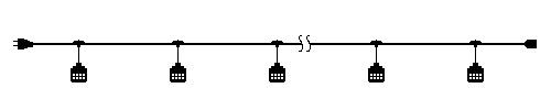 スズデン T1-30-10 スズラン灯 T1タイプ ケーブル長さ30m E26防水ソケット10個(ランプ別売) 【T13010】