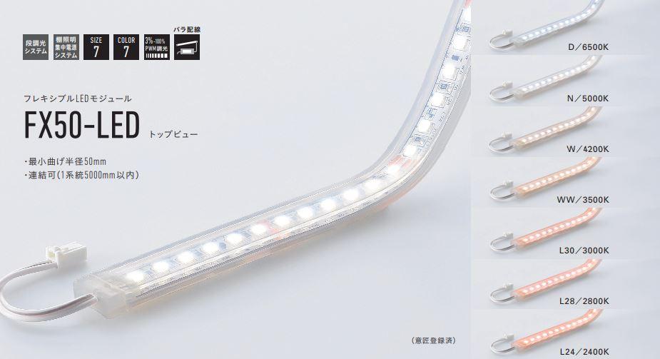 DNライティング FX50-LED2500WW フレキシブルLEDモジュール 3500K トップビュー
