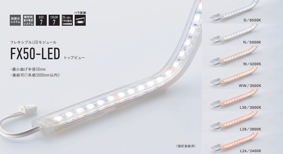 【受注品】 DNライティング FX50-LED2700W フレキシブルLEDモジュール 4200K トップビュー