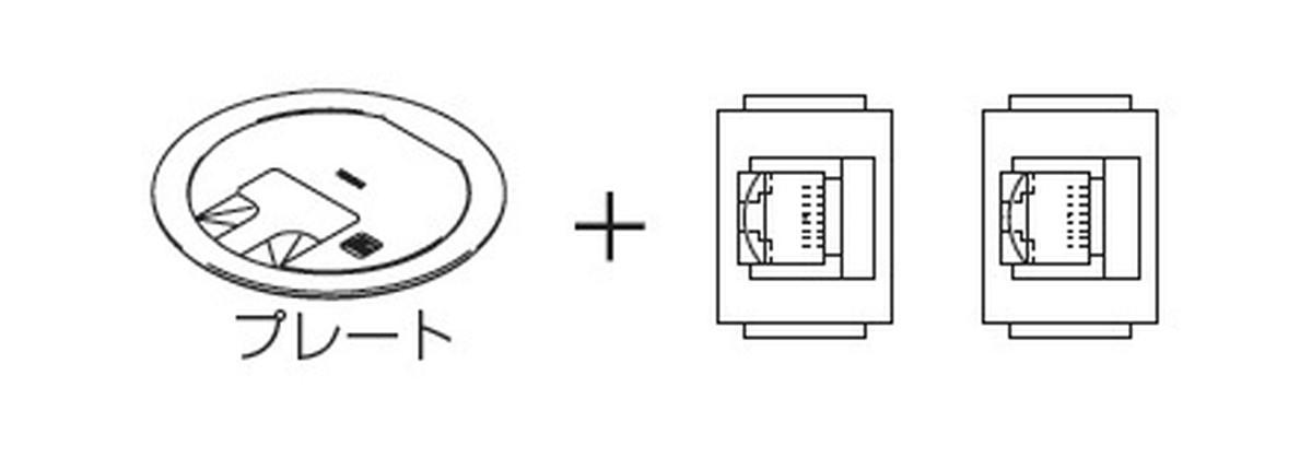 【受注品】寺田電機 LCR10098M020 プラグ収納 P=89 シャンパンゴールド 8極8芯CAT6モジュラジャック×2