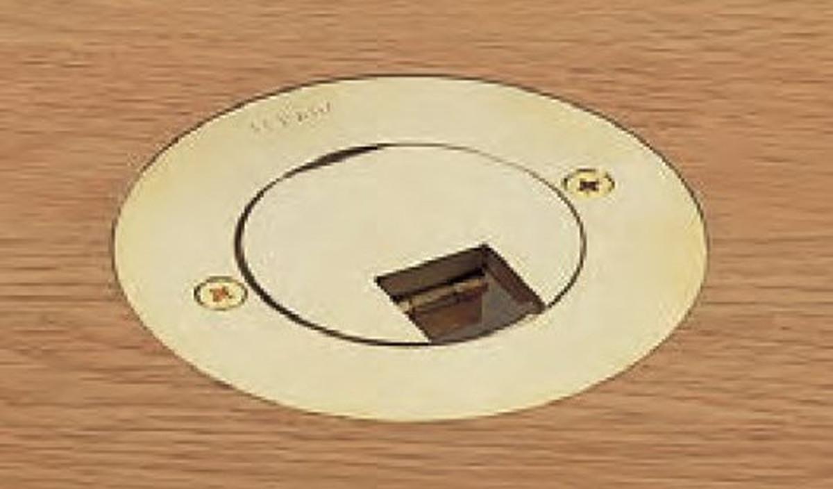 【受注品】寺田電機 TFB30186R プラグ収納 P=66.7 ゴールド 6極6芯モジュラジャック×2 Rカット