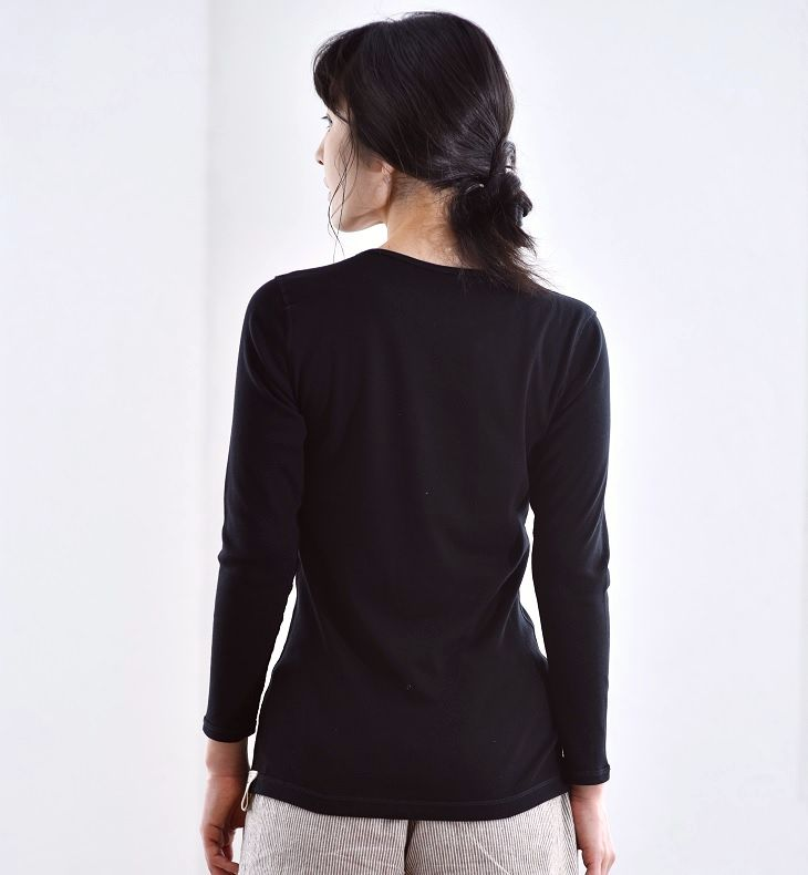 SEW's nothingness and then, 8-sleeve women's crew neck Longwood Black's finest ultimate Pima cotton 100% made in Japan / cotton / ladies / underwear / inner / sewn / t-shirt / natural / seam outside / outside the name tag / underwear / solid / black