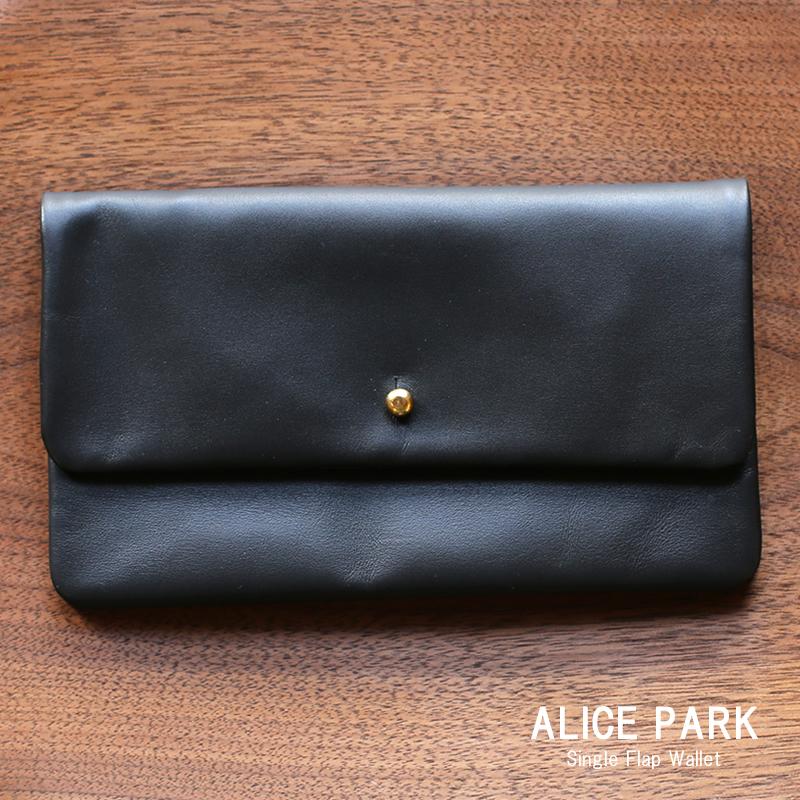 ALICE PARK アリスパーク Single Flap Wallet / 長財布シングルフラップウォレット ブラック 送料無料