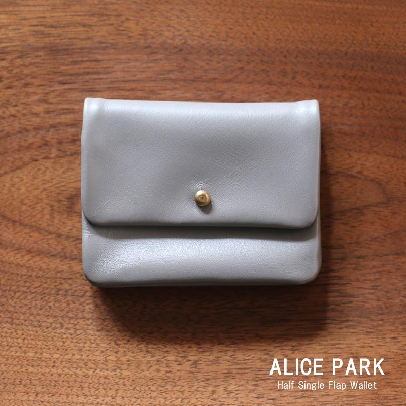 ALICE PARK アリスパーク Half Single Flap Wallet Gray / 二つ折り財布ハーフシングルフラップウォレット グレー 送料無料