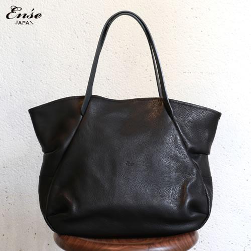 【5月中旬頃入荷予定 ご予約商品】Ense(アンサ)【送料無料】Leather tote M black/ブラックレザートートバッグ M