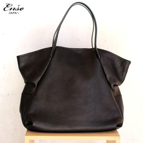 Ense(アンサ)【送料無料】Leather tote L black/ブラックレザートートバッグ L