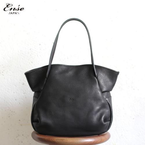 Ense(アンサ)【送料無料】Leather tote S black/ブラックレザートートバッグ S