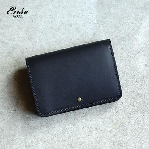 Ense(アンサ) Wallet / 二つ折り財布ヌメ革ウォレット ブラック 送料無料