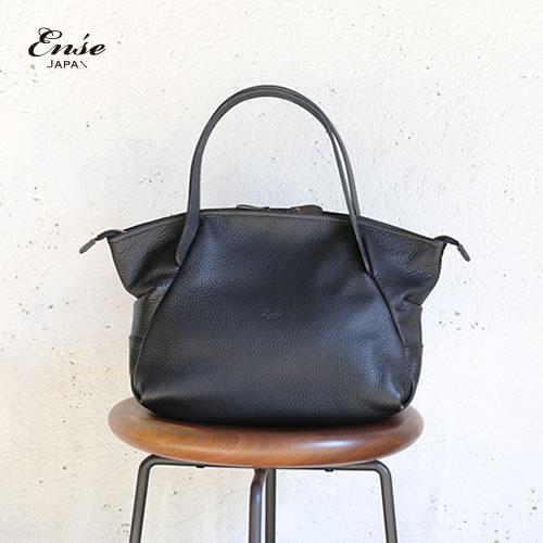 Ense(アンサ)【送料無料】Leather tote mini black/ブラックレザートートバッグ ミニ
