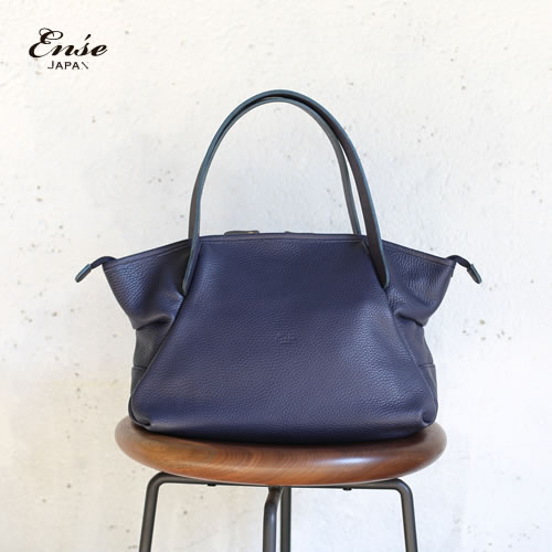 Ense(アンサ)【送料無料】Leather tote mini navy/ネイビーレザートートバッグ ミニ